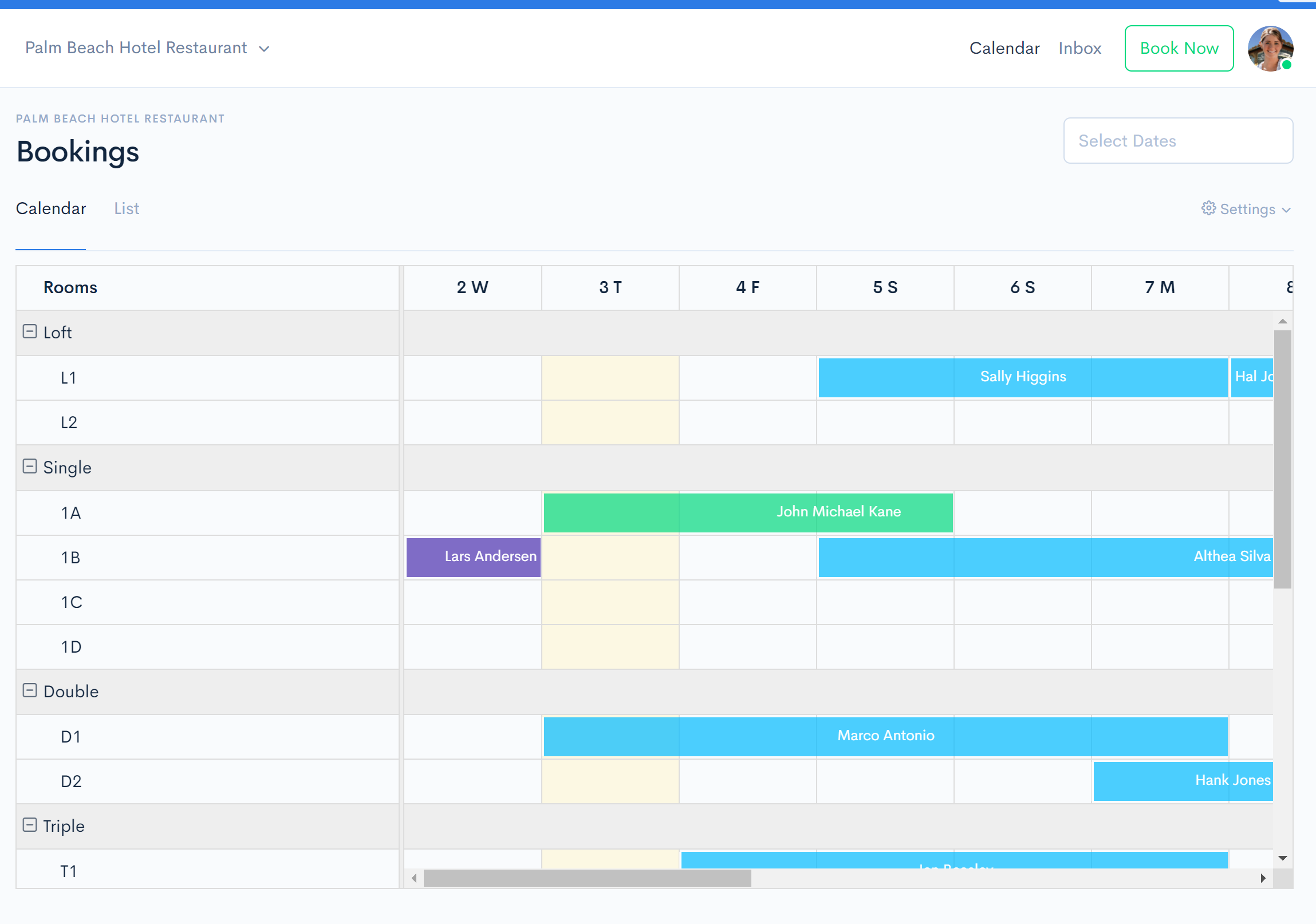 Hotel Front Desk Booking Reservations Calendar The Front Desk is our platform's PMS. This is where you create bookings, register guests, and process payments.