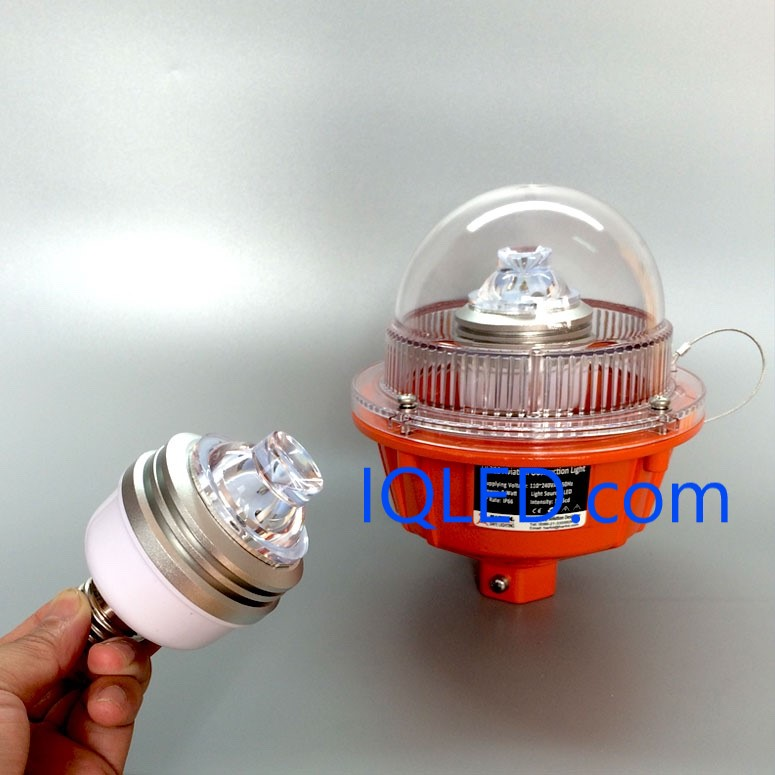 E27 LED lamp for low intensity aviation obstruction light, obstruction light, Aviation light, aviation obstruction lights, solar obstruction light, tower obstruction lighting.