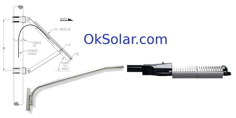 OkSolar.com Solar Parking Lot Lighting 65W LED 6175 Lumens
