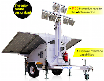 IQAirport.com Airport Solar Light Tower : Airport Solar Light Tower, Mobile Solar Light trailer, High lumen efficacy rechargeable emergency light batteries for night lighting.