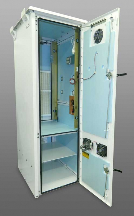 OkSolar.com Nema Outdoor Wireless Racking Cabinet Enclosure for 4G, LTE, OTN, Outside Plant Direct Air Cooled, Dual Battery Compartment