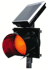 IQTraffiControl.com Solar 24 Hour Flashing Light RED 8 inches : Solar 24 Hour Flashing Red Beacon 8 inches