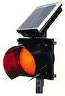 IQTraffiControl.com Solar 24 Hour Flashing Light RED 8 inches : Solar 24 Hour Flashing Red Beacon 8 inches