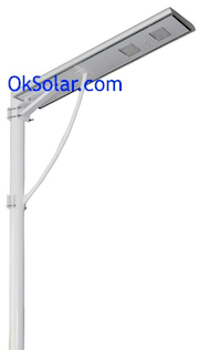 OkSolar.com Solar Parking Lot Lights Self Contained 40W LED 5200 Lumens : Solar Parking Lot Lights Self Contained , Solar LED Parking Lot Lighting Self Contained PV 40W LED 5200 Lumens, Applications: Solar Parking Lot Lights, LED Solar Street Lights, Solar street light self contained, Solar Power LED Street Lighting, Self-Contained Solar-Powered Streetlights, Parking lot lighting, Security Lighting Self Contained, LED 40Watts, 5200Lumens.
