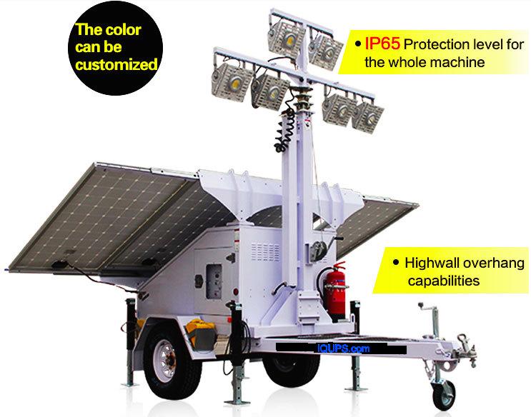 IQLED.com Solar Powered Construction Light Tower, Construction Light Tower Generator with Solar Power, Solar Light Tower