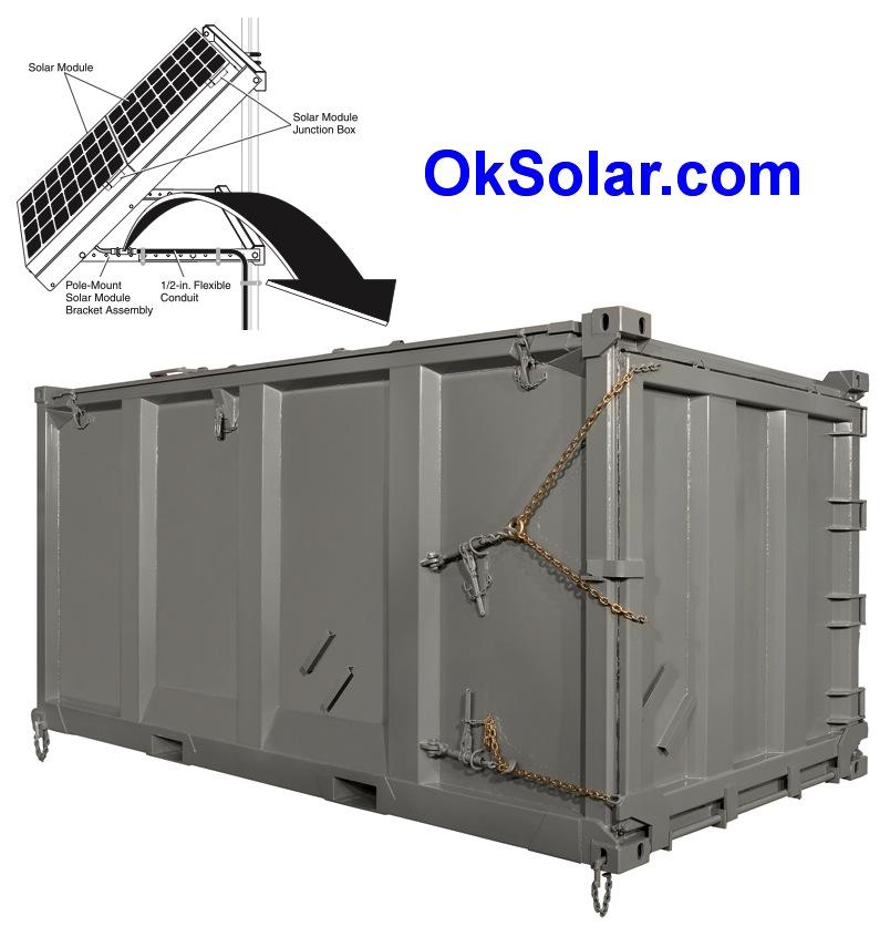 OkSolar.com Solar Light Tower Quadcon Containers