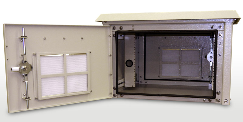 OkSolar.com Outdoor Enclosure 16H x 25W x 34D Nema Outdoor Telecom Enclosures and Cabinets, Pad/Wall/Pole Mountable