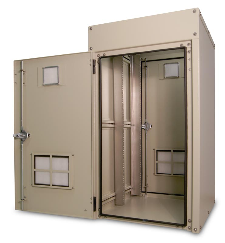 OkSolar.com Outdoor Enclosure 46H x 25W x 30D (23 RU) Nema Outdoor Telecom Enclosures and Cabinets, Pad/Wall/Pole Mountable