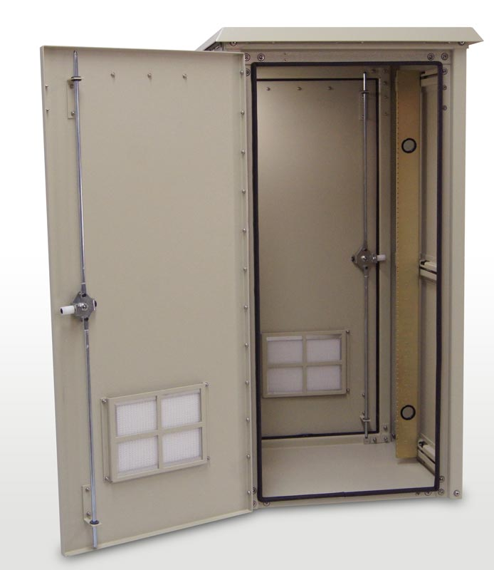 OkSolar.com Outdoor Enclosure 50H x 25W x 25D (26 RU) Nema Outdoor Telecom Enclosures and Cabinets, Pad/Wall/Pole Mountable