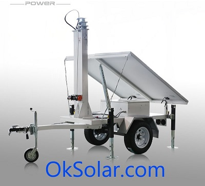 OkSolar.com Solar Trailer : Solar Trailer | Light Tower | Surveillance Trailer | Solar Trailer |Telescopic Mast