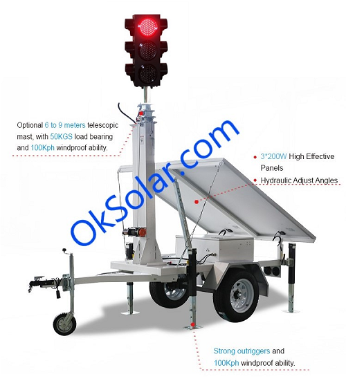 IQTraffiControl.com 4 way Solar Portable Traffic Light Controller Trailer Mounted
